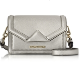 Karl Lagerfeld Silver Saffiano Leather K/Klassic Super Mini Crossbody Bag