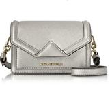 Karl Lagerfeld Silver Saffiano Leather K/Klassik Super Mini Crossbody Bag