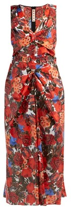 Marni Duncraig-print Floral-print Coated-cotton Dress - Red Multi