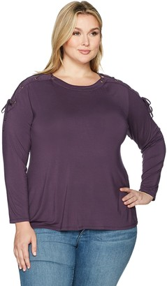 Love Scarlett Women's Plus Size Long Sleeve Mixed Media Knit Top with Grommet