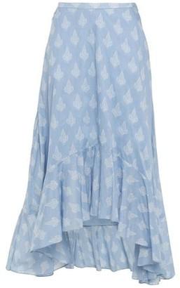 Maje Jota Asymmetric Printed Cotton-gauze Midi Skirt