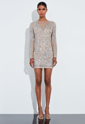 Missguided Silver Sequin Embellished Mesh Round Neck Mini Dress