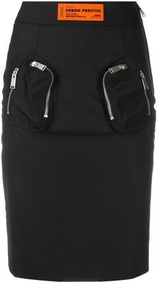 Heron Preston Front-Zip Pockets High-Waisted Skirt