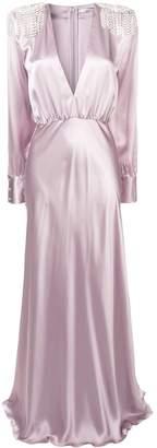 Alessandra Rich embellished plunge neck gown