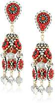 Miguel Ases Red Carnelian and Pyrite 3-Dimensional Mini Flower Post Drop Earrings