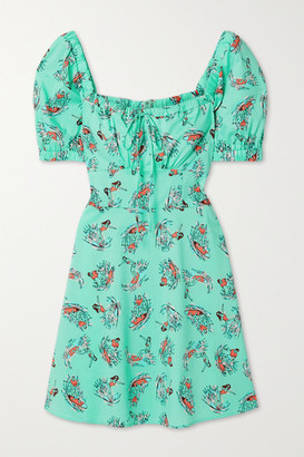 HVN Holland Printed Cotton-blend Poplin Mini Dress - Mint