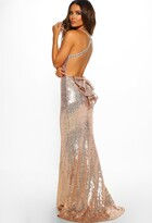 Pink Boutique Imogen Rose Gold Sequin Backless Maxi Dress