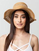 Full Tilt Cutout Straw Floppy Hat