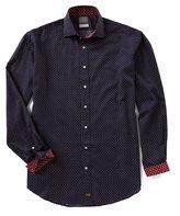 Thomas Dean Big & Tall Neat Print Long-Sleeve Woven Shirt