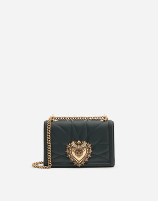 Dolce & Gabbana Medium Devotion Side Bag In Matelasse Nappa Leather