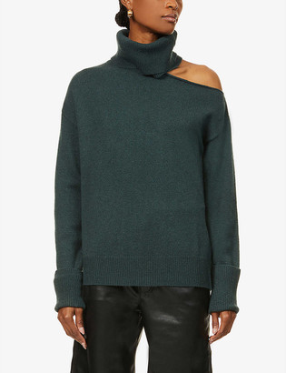 Paige Raundi cut-out shoulder wool-blend jumper