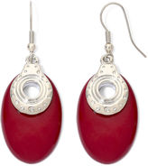 JCPenney MIXIT Red Silver-Tone Oval Earrings