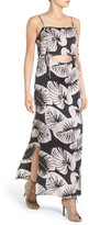 KENDALL + KYLIE Kendall & Kylie Print Cutout Silk Maxi Dress