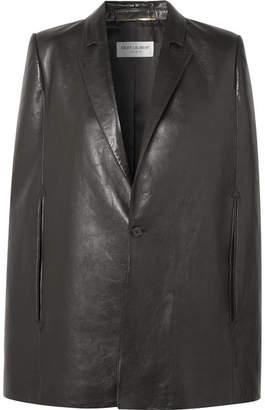 Saint Laurent Leather Cape - Black