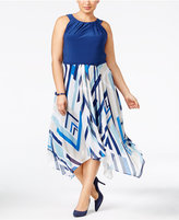 SL Fashions Plus Size Printed Handkerchief-Hem Dress