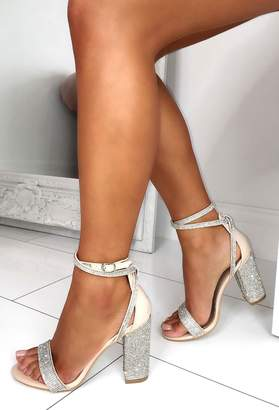 Pink Boutique Embellish The Moment Nude Diamante Wrap Strap Block Heels