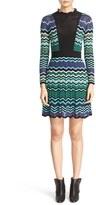 M Missoni Women's Ruffle Trim Ripple Stitch Fit & Flare Dress