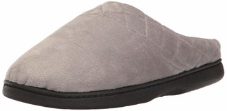 Dearfoams Women's Darcy Microfiber Velour Clog with Quilted Cuff Medium Grey X-Large US