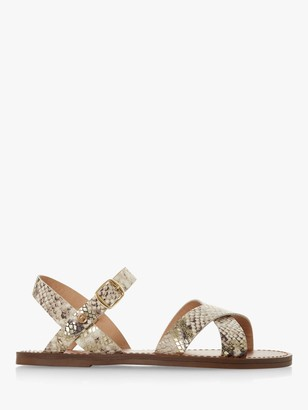 Dune Wide Fit Lavell Leather Flat Sandals, Natural
