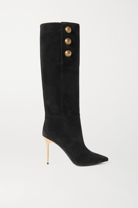 Balmain Button-embellished Suede Knee Boots - Black