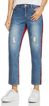 Sjyp Check Mix Straight Jeans in Red