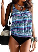 Crazycatz@Women Two Piece Blouson Sporty Tankini Set Floral Swimwear