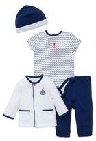 Little Me Sailing 4-Piece Bodysuit, Pant, Jacket, and Hat Set in White/Navy