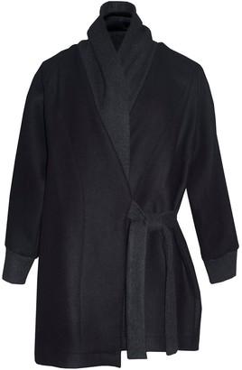 Keegan Truffle Coat In Black Wool With Wrap Tie Waist