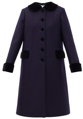 Gucci Flared Wool-blend Twill Chesterfield Coat - Navy