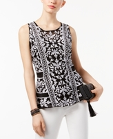 INC International Concepts Petite Embroidered Peplum Top, Created for Macy's
