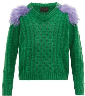 Prada Contrast Panel Mohair Blend Cable Knit Sweater - Mens - Green