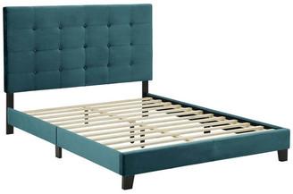 Lexmod Melanie Twin Tufted Button Upholstered Velvet Platform Bed, Sea Blue