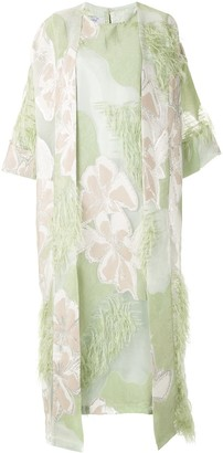 Isabella Collection feather trim kaftan dress