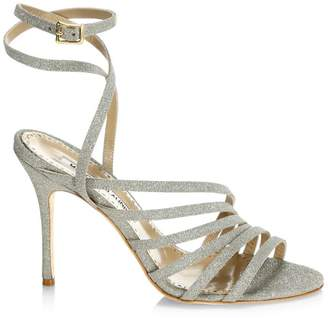 Manolo Blahnik Acante Ankle-Wrap Glitter Leather Sandals