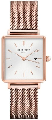 ROSEFIELD QWSR-Q01 The Boxy Rose Gold Watch