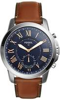Fossil Q Ftw1122 Grant Leather Strap Hybrid Smartwatch, Brown/navy