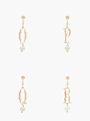Simone Rocha Initial-pendant Gold-plated Single Earring (n-z) - Gold Multi
