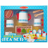 Melissa & Doug 22-Pc. Play Wooden Steep Serve Tea Set Food