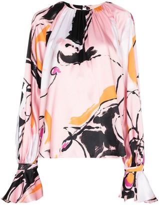 Roksanda Dance-print puff-sleeve blouse