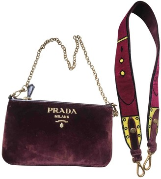 Prada Burgundy Velvet Clutch bags