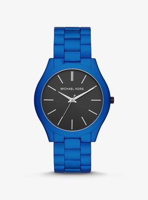 Michael Kors Oversized Slim Runway Blue-Tone Aluminum Watch