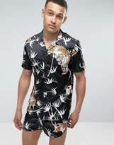 Asos Co- Ord Regular Fit Poly Sateen Pyjama Shirt With Bamboo And Tiger Print