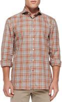 Isaia Plaid Woven Shirt, Brown