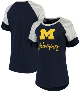 Women's Navy Michigan Wolverines Twist It Up Ruffle Sleeve Raglan T-Shirt