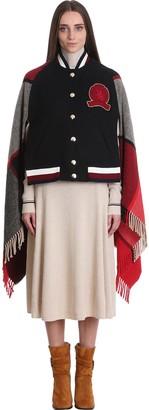 Tommy Hilfiger Bomber In Black Multicolor Wool