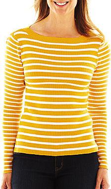 Liz Claiborne Striped Boatneck Sweater