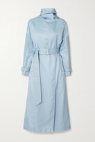 Thumbnail for your product : Salvatore Ferragamo Belted Leather-paneled Silk-twill Trench Coat