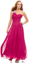 Xscape Evenings Dress, Sleeveless One-Shoulder Beaded Gown