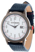 Steve Madden Alloy and Pebbled Leather Strap Watch