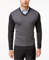 Club Room Men's Big and Tall Merino Blend Houndstooth VNeck Sweater, Only at Macy's